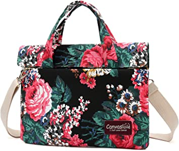 Canvaslove Red and White Rose Waterproof Laptop Shoulder Messenger Bag Case for MacBook Pro 15 and 14 Inch 15.6 Inch Laptop