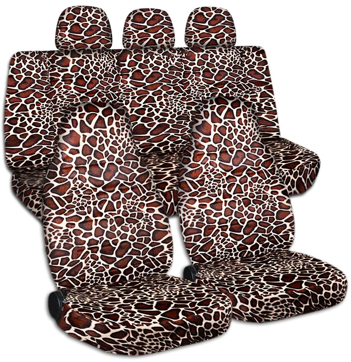 Animal Print Car Seat Covers w 3 Rear Headrest Covers: Giraffe - Semi-Custom Fit - Full Set - Will Make Fit Any Car/Truck/Van/SUV (30 Prints)