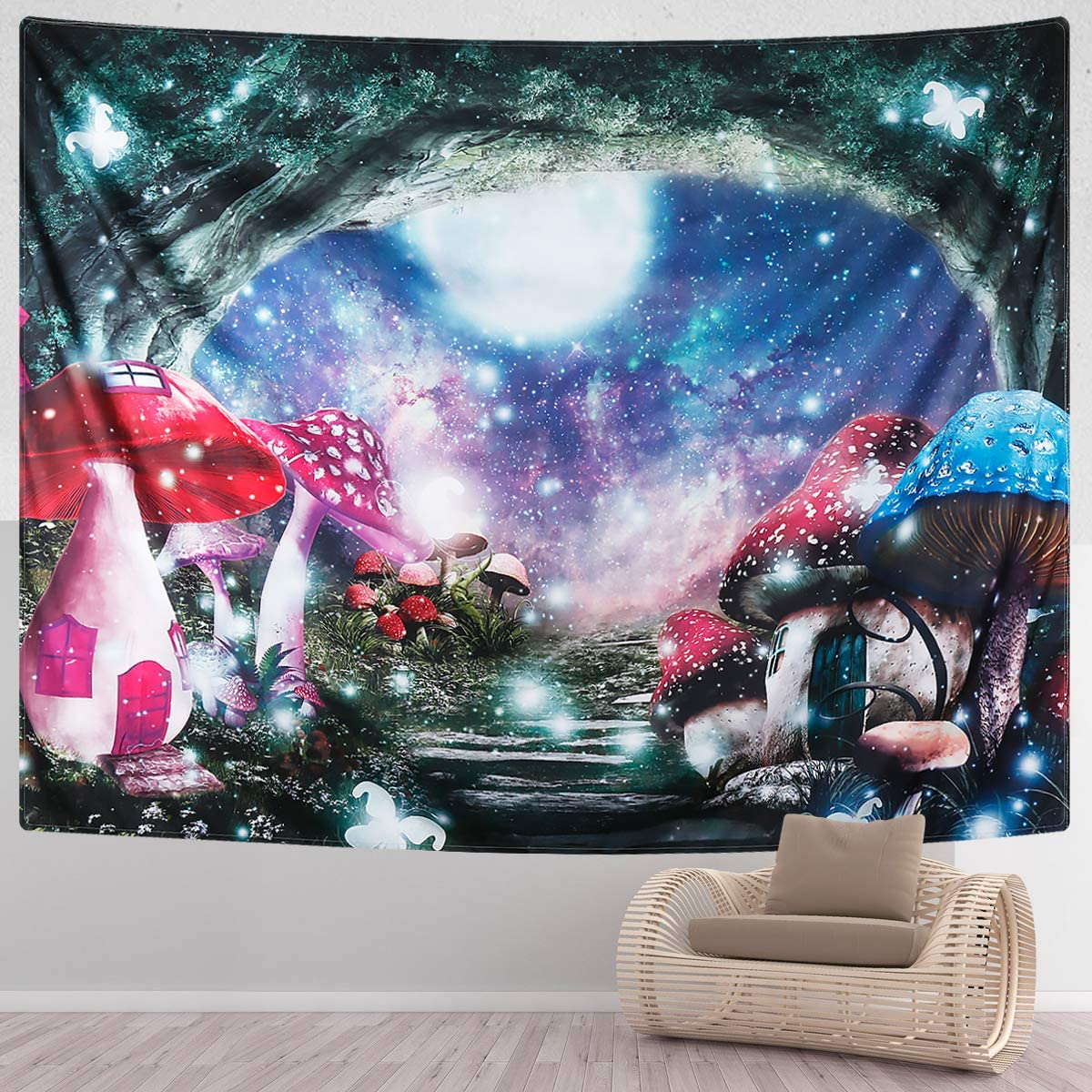 SENYYI Mushroom Castle Tapestry Fantasy Butterfly Tapestry Moon Stars Tapestry Fairy Tale Old Tree Wall Hanging for Room 70.9 x 92.5 inches