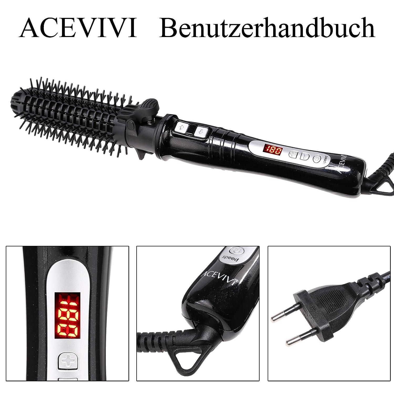 Acevivi 2-1 Rizador de pelo con cepillo redondo, pantalla LCD, 32mm, color negro: Amazon.es: Belleza