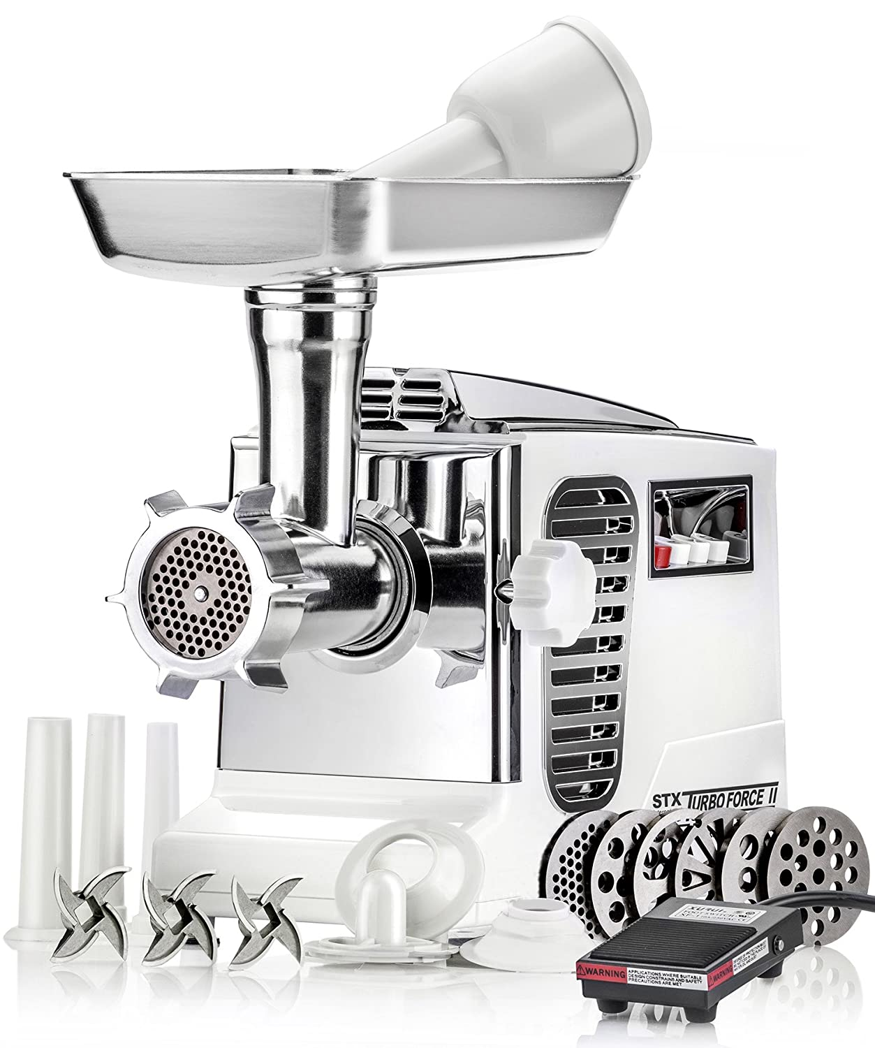 Electric Meat Grinder - Size #12 - Model STX-4000-TB2-PD - STX International Turboforce II - Air Cooling Patent - Foot Pedal Control, 6 Grinding Plates, 3 Cutting Blades, Kubbe & Sausage Tubes - Black STX-4000-TB2-PD-BL