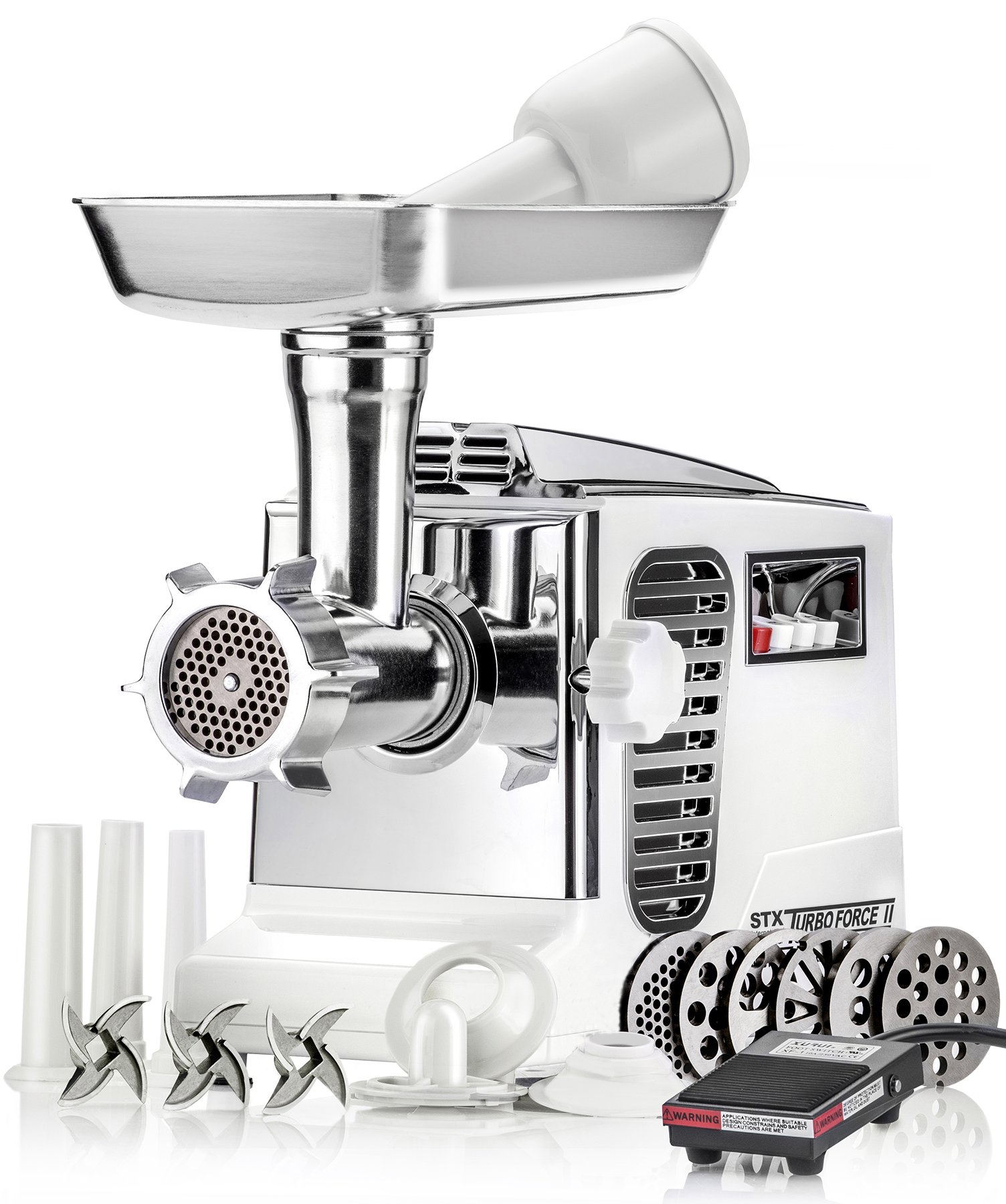 Electric Meat Grinder - Size #12 - Model STX-4000-TB2-PD - STX International Turboforce II - Air Cooling Patent - Foot Pedal Control, 6 Grinding Plates, 3 Cutting Blades, Kubbe & Sausage Tubes - White