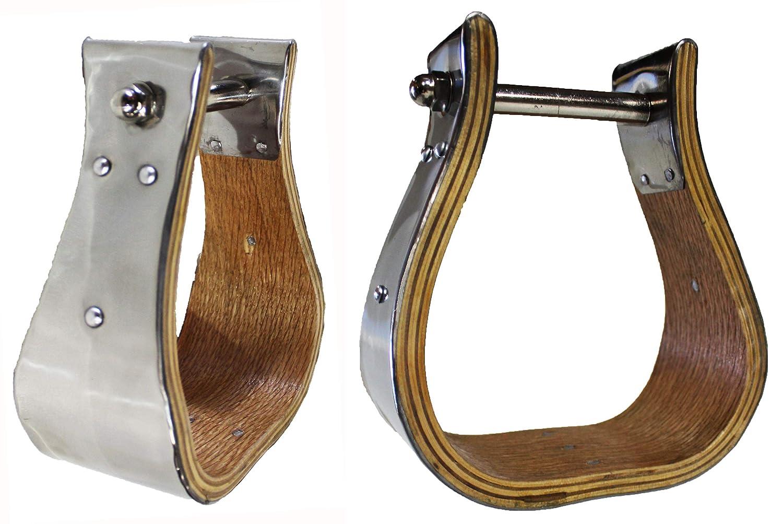 PRORIDER Wooden Bell Stirrups 5-1//2 Wide Stainless Steel Hand Bound 3 Tread Neck 51124 Tackrus