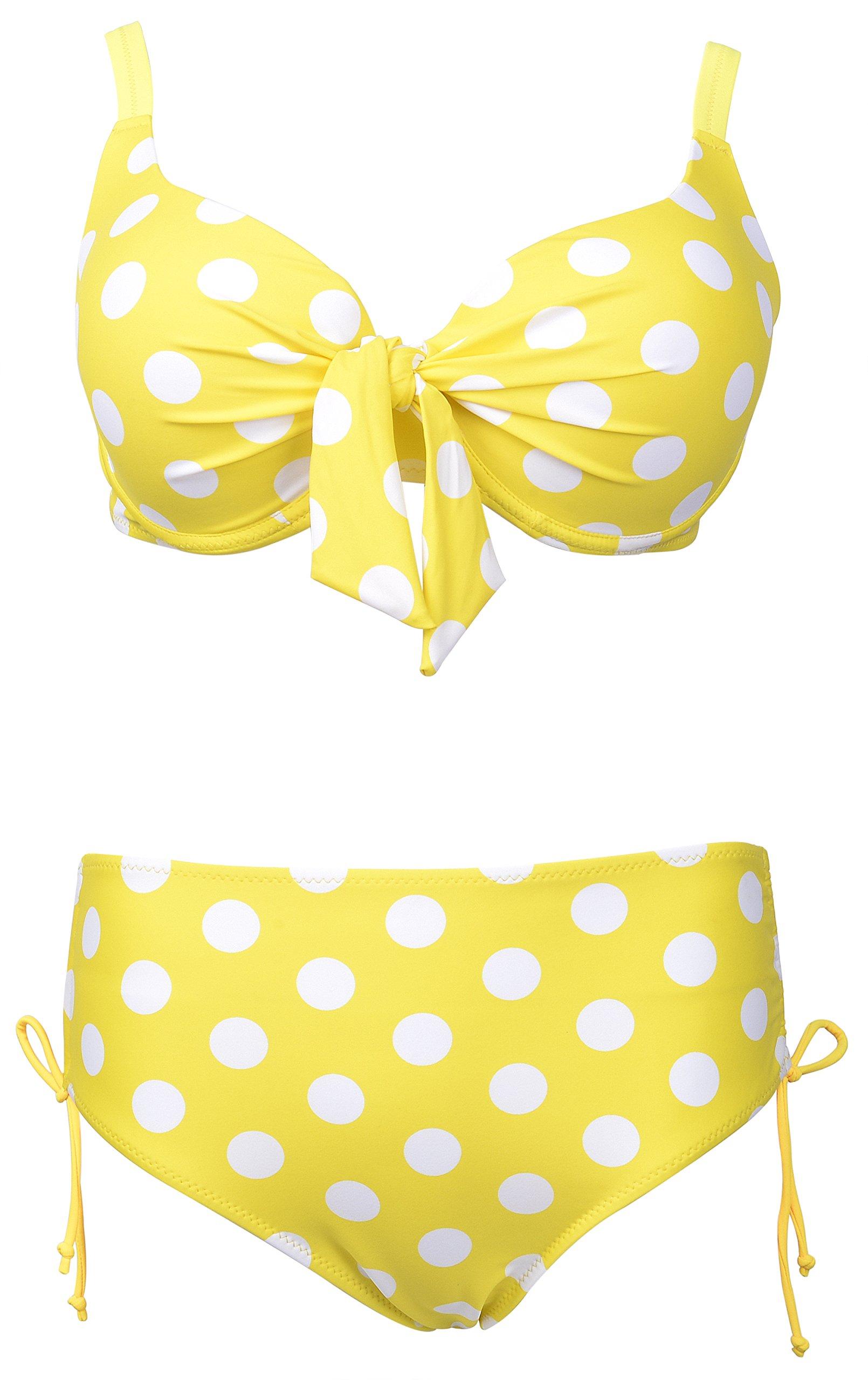 QZUnique Women's Plus Dot Vintage Bikini Bow Busted Push up 2 Pieces Swimsuit Swimwear Yellow White US 18-20W