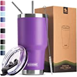 Koodee 30 oz Tumbler Stainless Steel Double Wall Vacuum Insulated Travel Coffee Tumbler Cup with 2 Straws, 1 Lids and Brush (