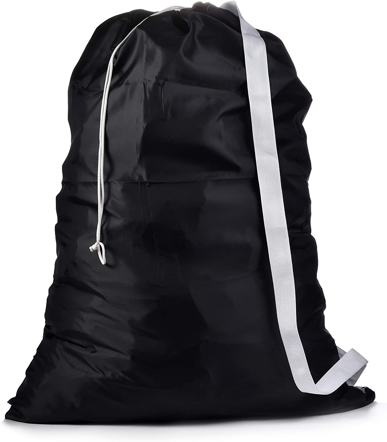 "Shoulder Strap Laundry Bag - Drawstring Locking Closure, Durable Nylon Material, Large Capacity, Heavy Duty Stitching, Hands Free Carrying, Perfect for Laundromat or College Dorm. (Black | 30"" x 40"")"