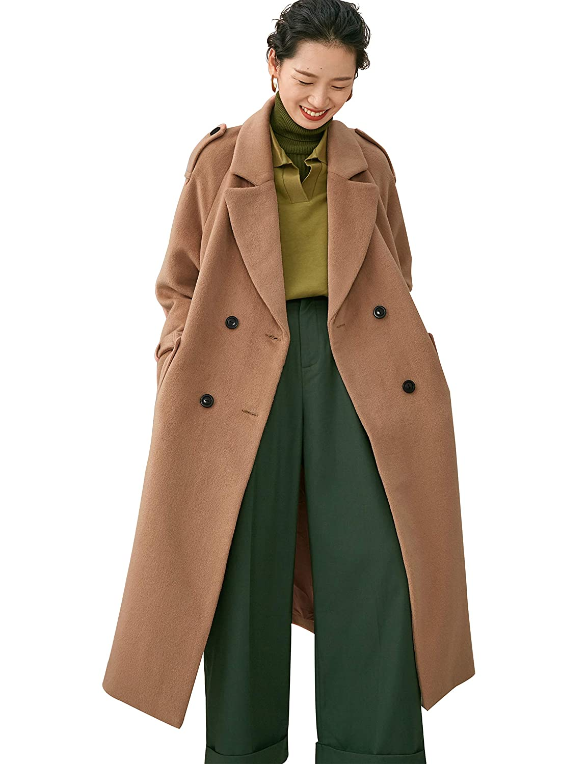 943a1d3bb0f Amazon.com: Elf Sack Womens Long Wool Coat Double Breasted Outerwear Winter  Warm Trench Jacket: Clothing