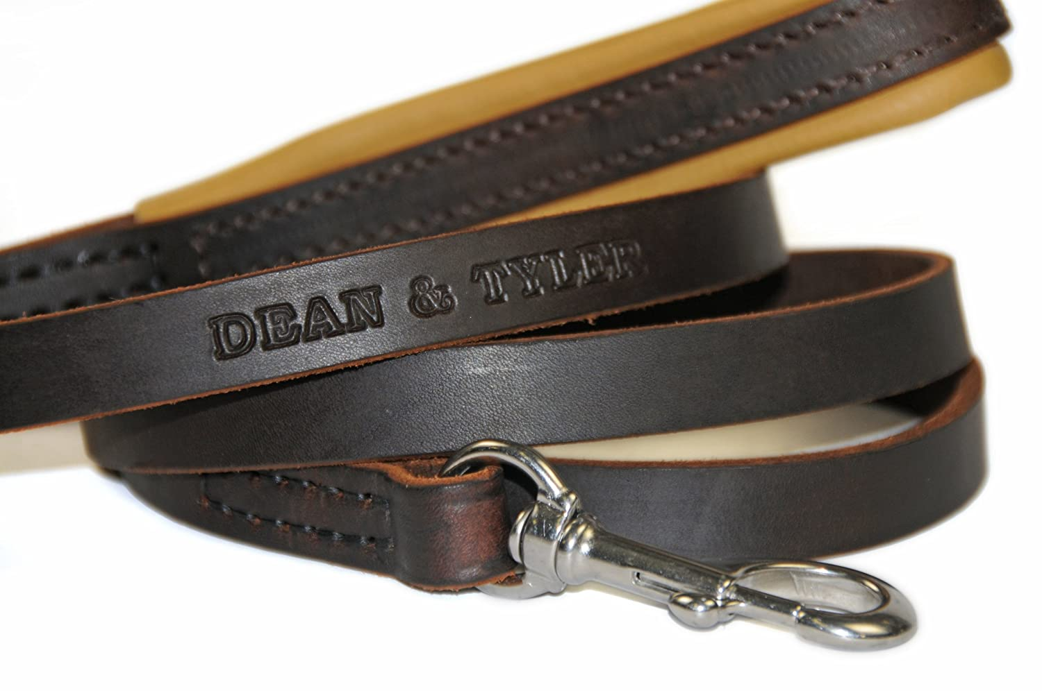 Dean and Tyler Soft Touch Dog Leash, Brown 2-Feet by 3 4-Inch Width With Brown Padded Handle and Stainless Steel Snap Hook.