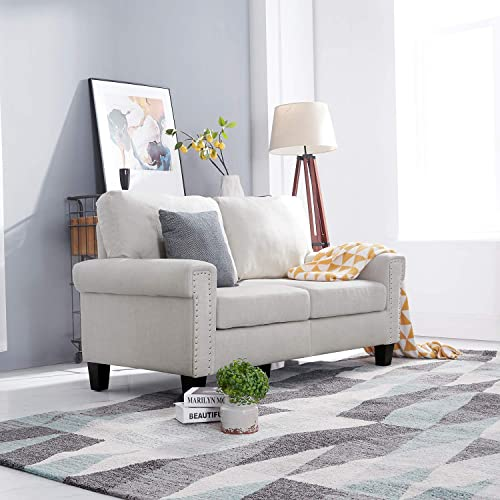 Festival Depot 1 Piece Indoor Modern Fabric Furniture Accent Arm Sofa Loveseat - the best living room sofa for the money