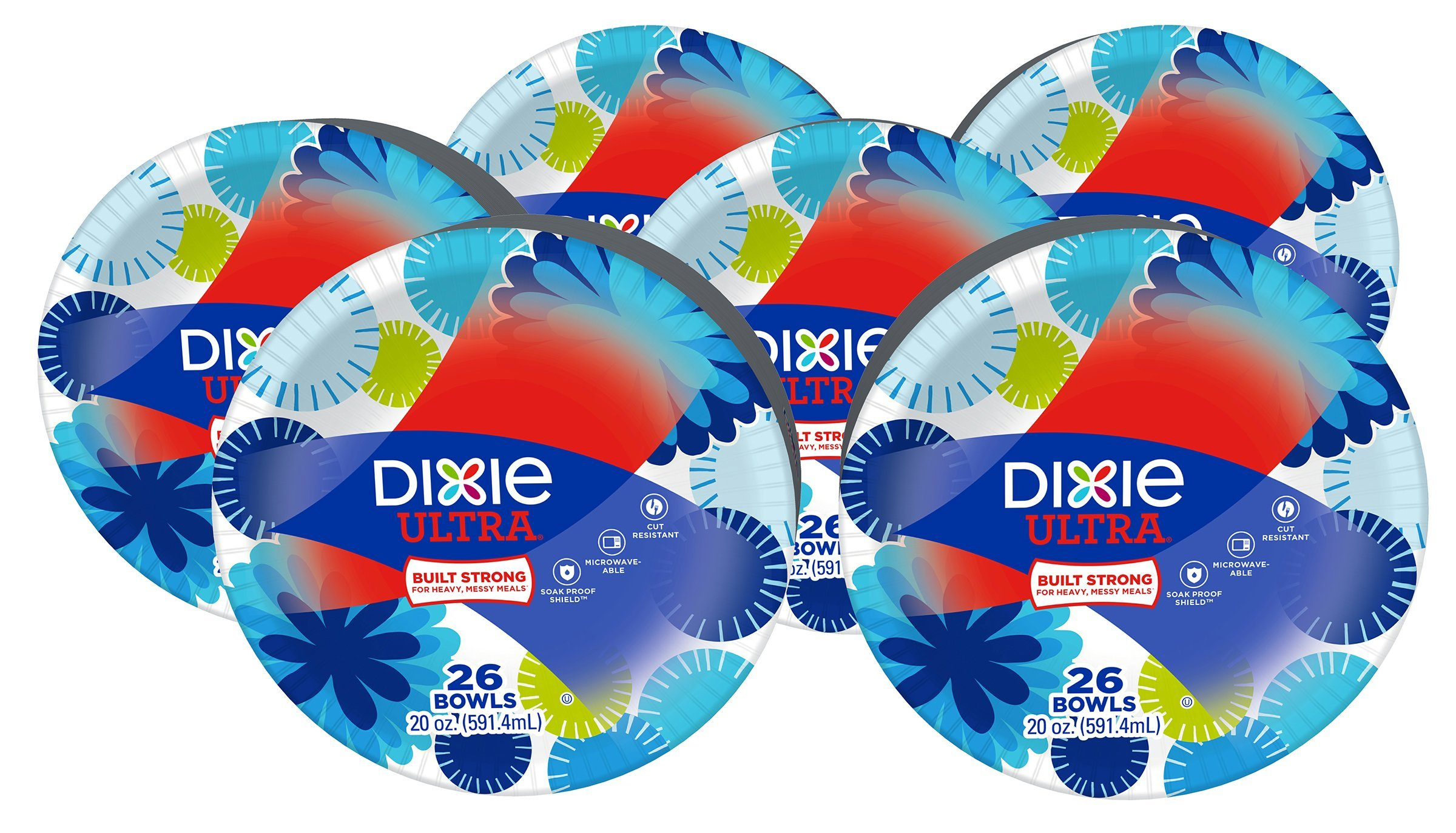 Dixie Ultra Paper Bowls, 20 Oz, 156 Count, 6 Packs of 26 Bowls, Dinner or Lunch Size Printed Disposable Bowls