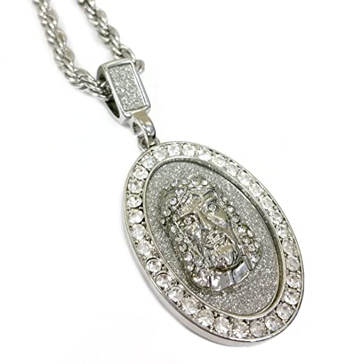 Amazon jesus piece diamond framed oval medallion pendant jesus piece diamond framed oval medallion pendant necklace with 24quot rope chain aloadofball Choice Image