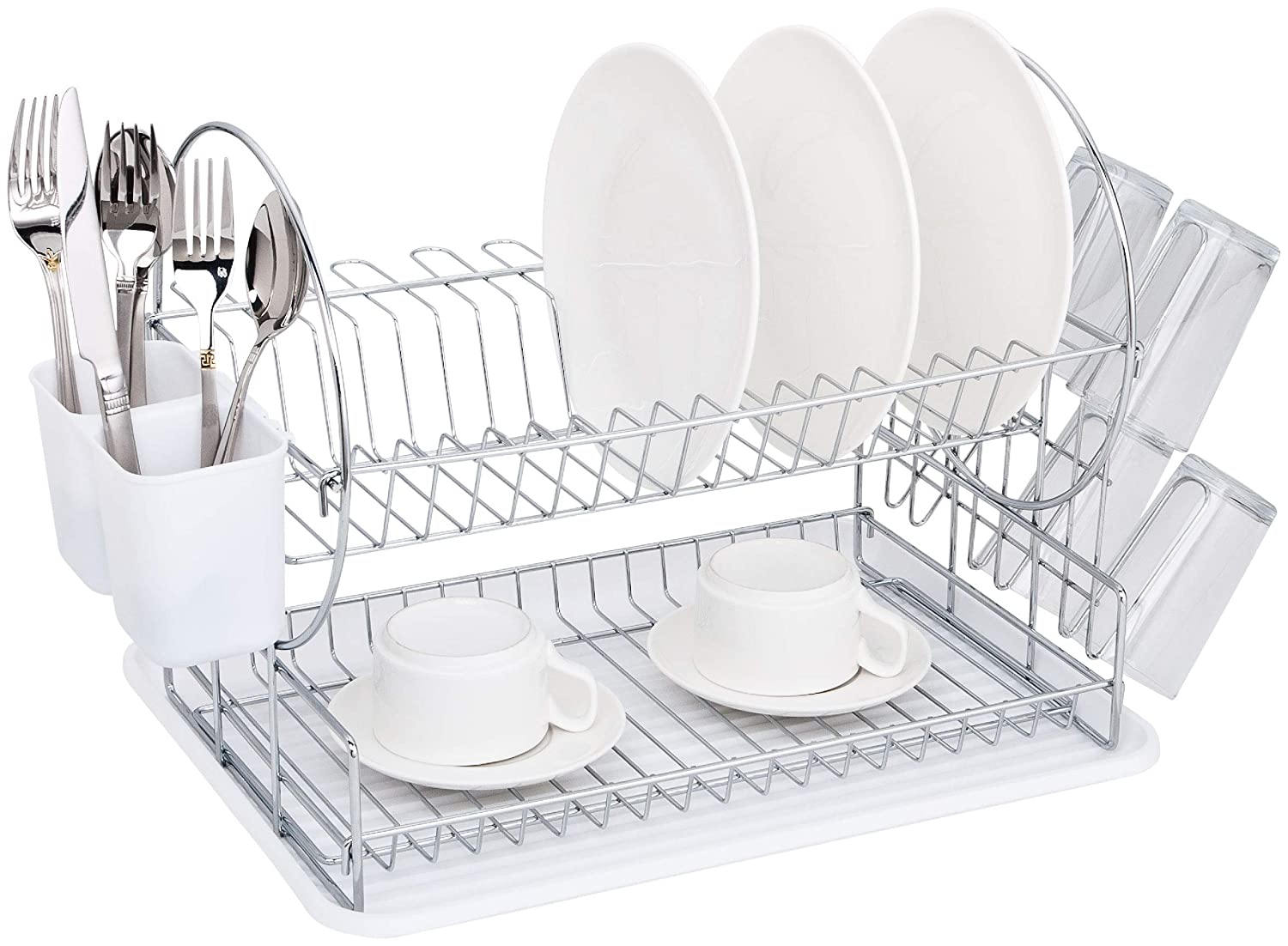 Deluxe 2-Tier Kitchen Counter Top Dish Drying Rack and Set With Cup and Cutlery Holder (Black) Hampton Home