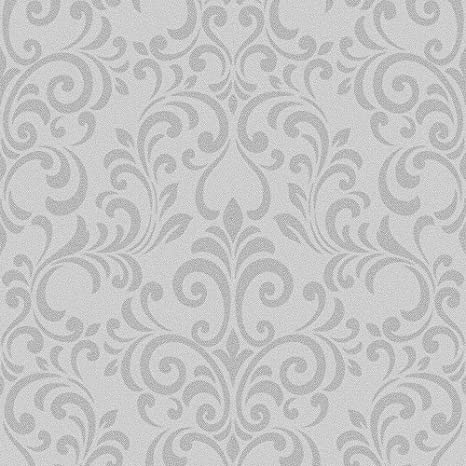 Lipsy London Luxe Damask Glitter Wallpaper Silver 144801