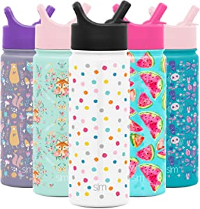 Simple Modern 18oz Summit Kids Water Bottle Thermos with Straw Lid - Dishwasher Safe Vacuum Insulated Double Wall Tumbler Travel Cup 18/8 Stainless Steel Polka Play