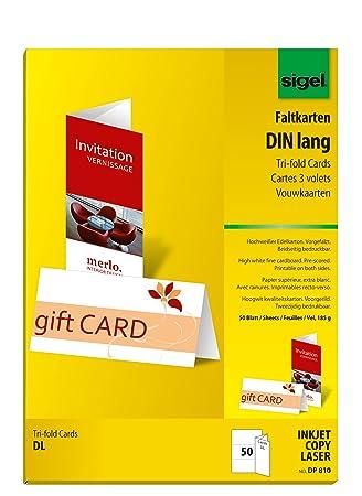 Sigel DP810 Faltkarten DIN lang hochweiß, 50 Stück, 185 g: Amazon.de ...