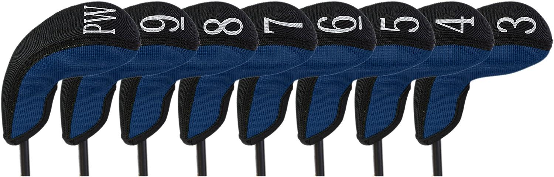 Stealth Club Covers 18060 Hybrid Set 3-PW Golf Club Head Cover (8-Piece), Navy Blue Solid/Black Trim