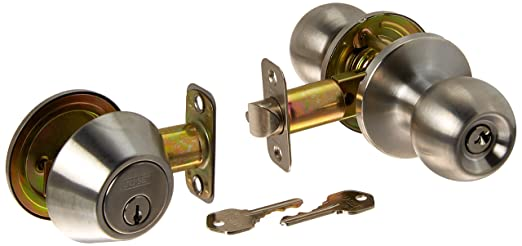 cerradura de llave Juego de pomos para puerta de acero inoxidable satinado entrada