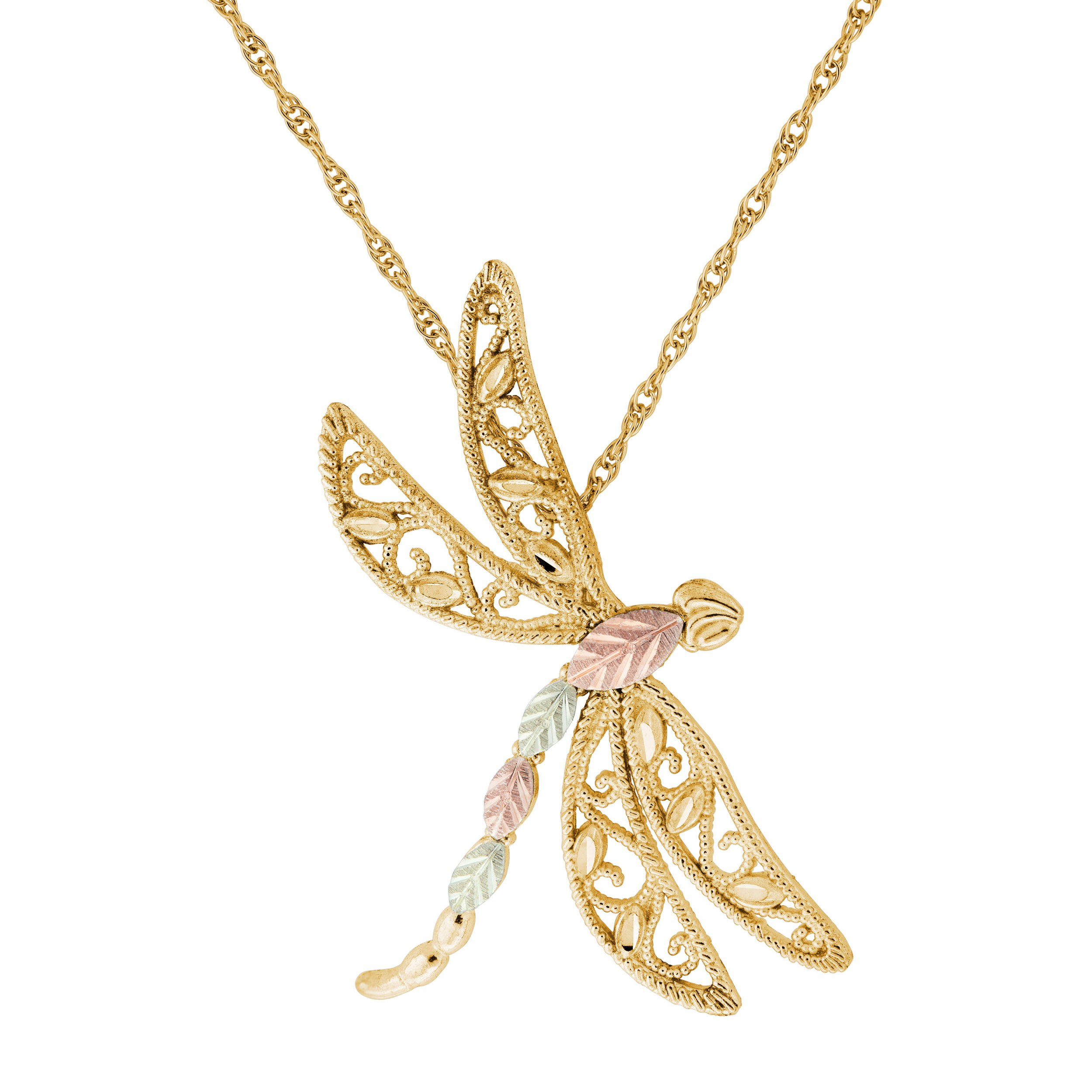 Black Hills Gold 10k Yellow Gold Dragonfly Pendant Necklace, 18''