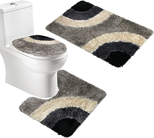 Microfiber Rug 3 Piece Bath Mat Set Pedestal Lid Toilet Cover Rug Bath Carpet