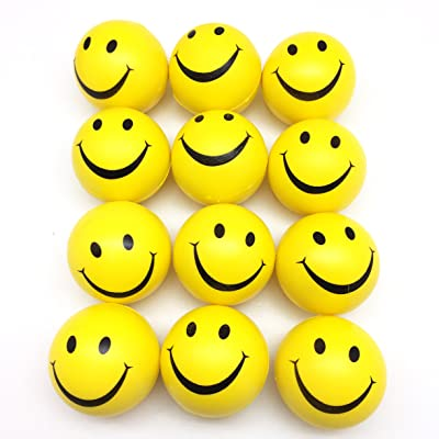 "PEPPERLONELY 12PC/Pack Yellow Smile Face Stress Ball, Squeeze Balls for Stress Relief, Party Favors, Ball Games and Prizes, Stocking Stuffers, 3"": Toys & Games"
