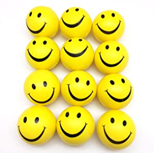 """PEPPERLONELY 12PC/Pack Yellow Smile Face Stress Ball, Squeeze Balls for Stress Relief, Party Favors, Ball Games and Prizes, Stocking Stuffers, 3"""""""