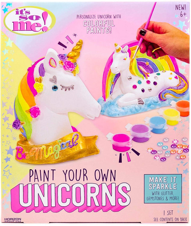 B07DQ5D9F9 It's So Me! Paint Your Own Unicorns by Horizon Group USA, Paint & Decorate 2 Plaster Unicorns, Includes 6 Acrylic Paints, 5 Metallic Paints, Gemstones, Glitter, Sticker Sheet, Paint Brush & More 81YOO64YnyL