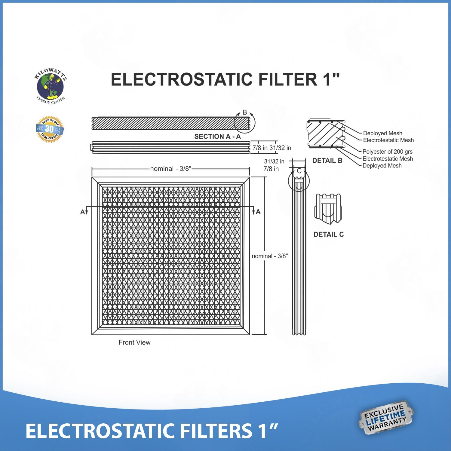 14x25x1 Lifetime Air Filter - Electrostatic Washable Permanent A/C Silver Steel Frame 65% more efficiency by Kilowatts Energy Center (Image #6)