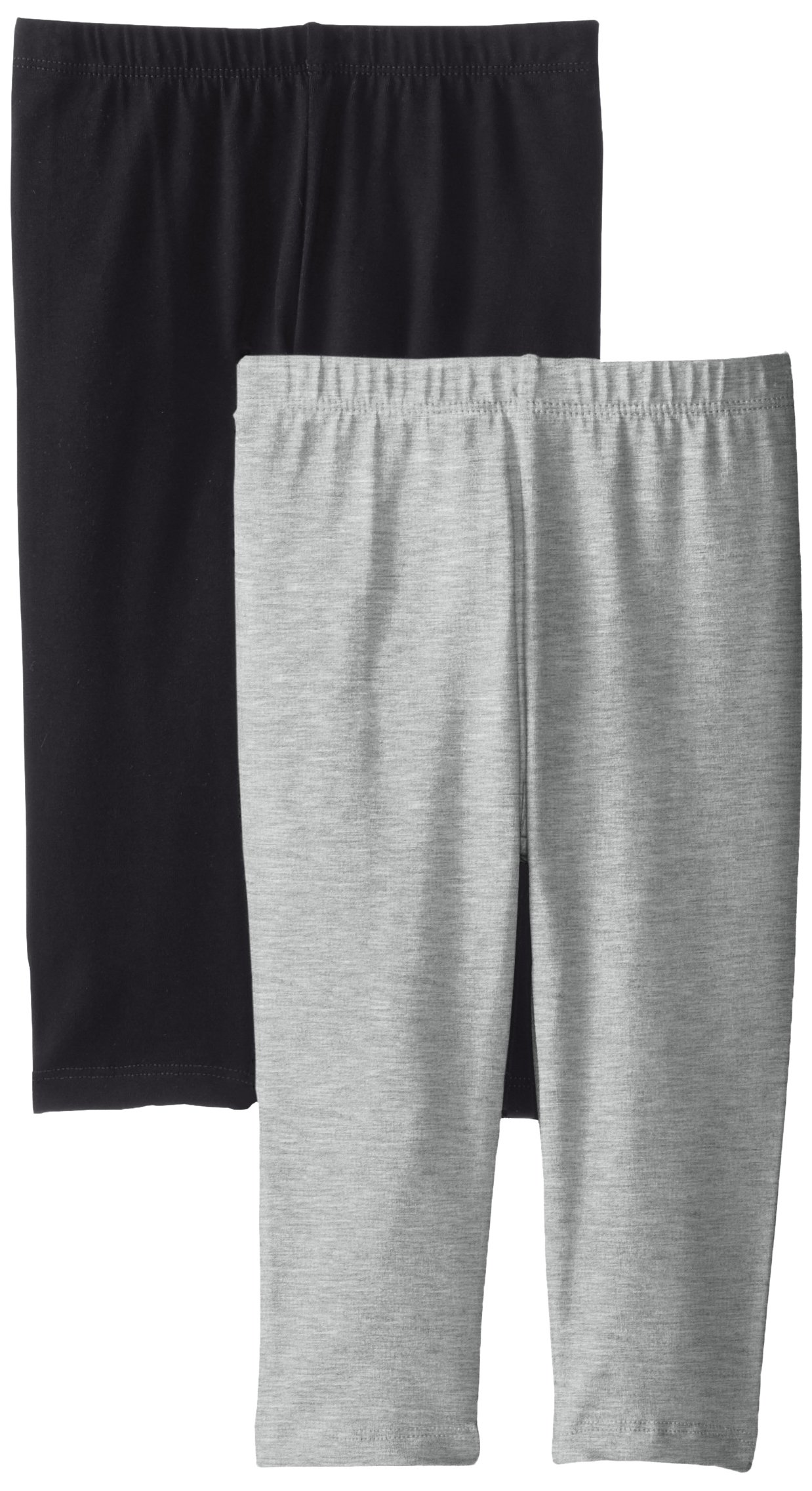 The Children's Place Big Girls' Cropped Legging (Pack of 2), Black/Heather Grey, X-Large (14)