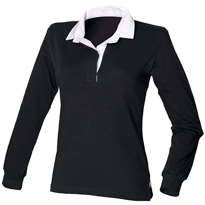 Front Row Womens/Ladies Long Sleeve Original Rugby Shirt (XS) (Black)