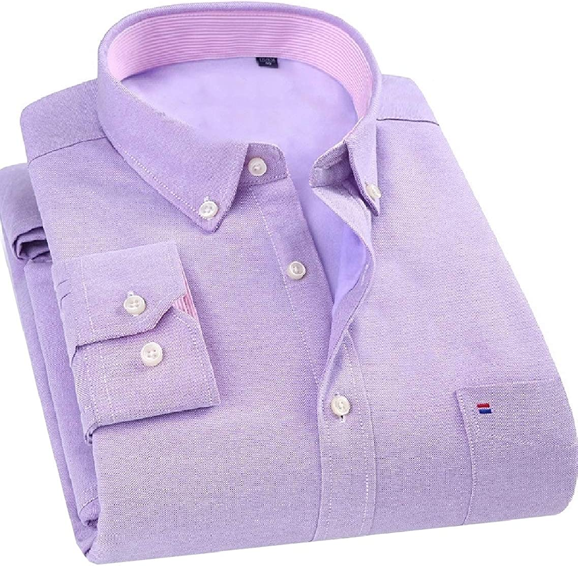 Highisa Men Plus Velvet Thickening Slim Fit Leisure Comfort Business Shirts Purple 38