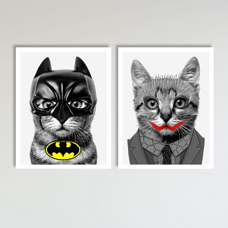 Amazon.com: Bat Cat and The Joker Cat 2 Piece Set, Superhero ...
