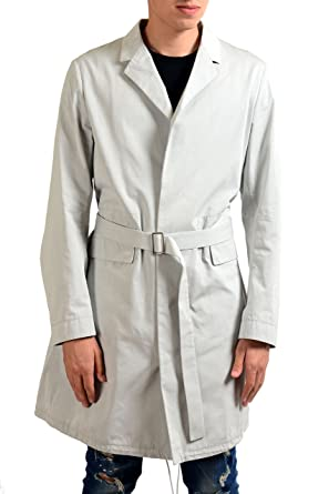 best website 7fce1 ec5bd Jil Sander Men's Gray Button Up Belted Trench Coat at Amazon ...
