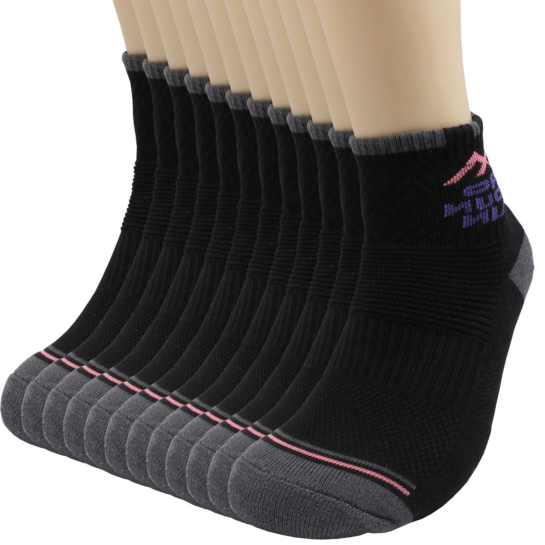 Pro Mountain Cotton Quarter Ankle Cushion All Day Hiking Athletic Sports Socks (S(US Women Shoes 6~8), Black 12pairs Pack S-size)
