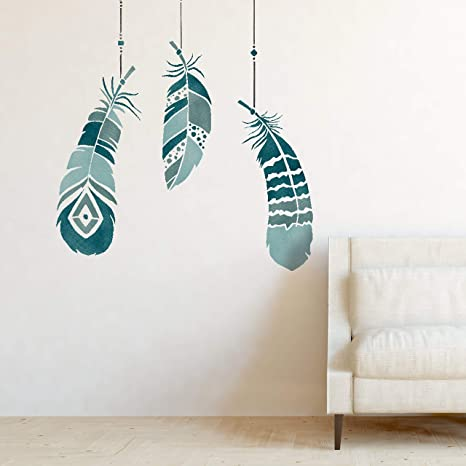 Genial Feathers Wall Furniture Stencil Set For Painting S