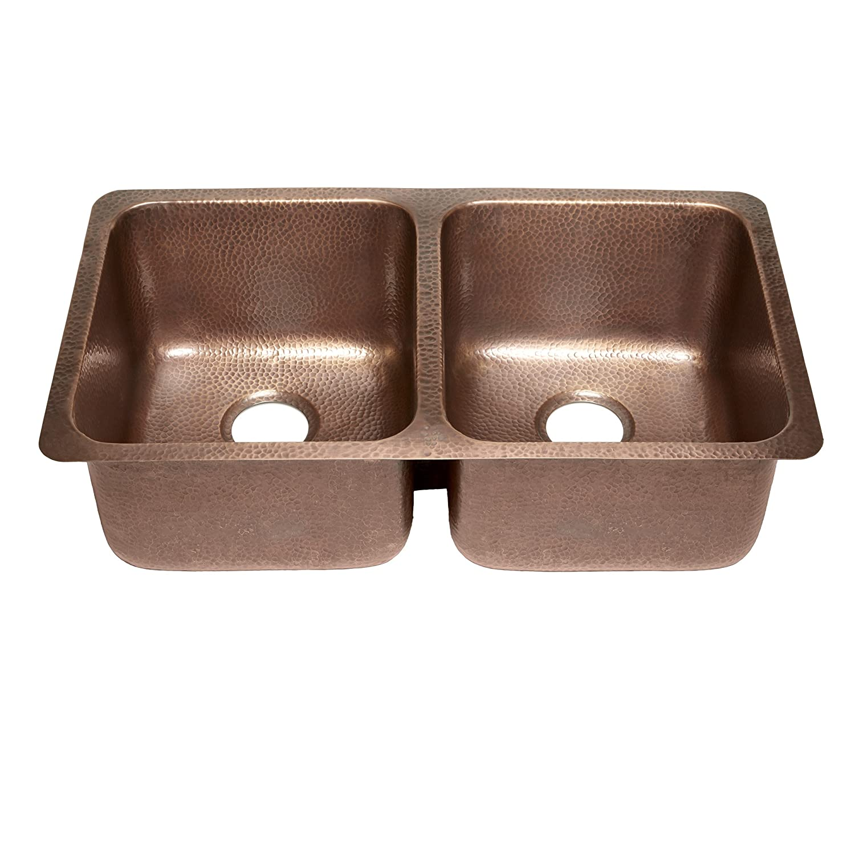 Sinkology SK204-32AC Rivera Luxury Series Undermount Handmade Pure Copper Double Bowl Kitchen Sink, 32-1 4 , Antique Copper