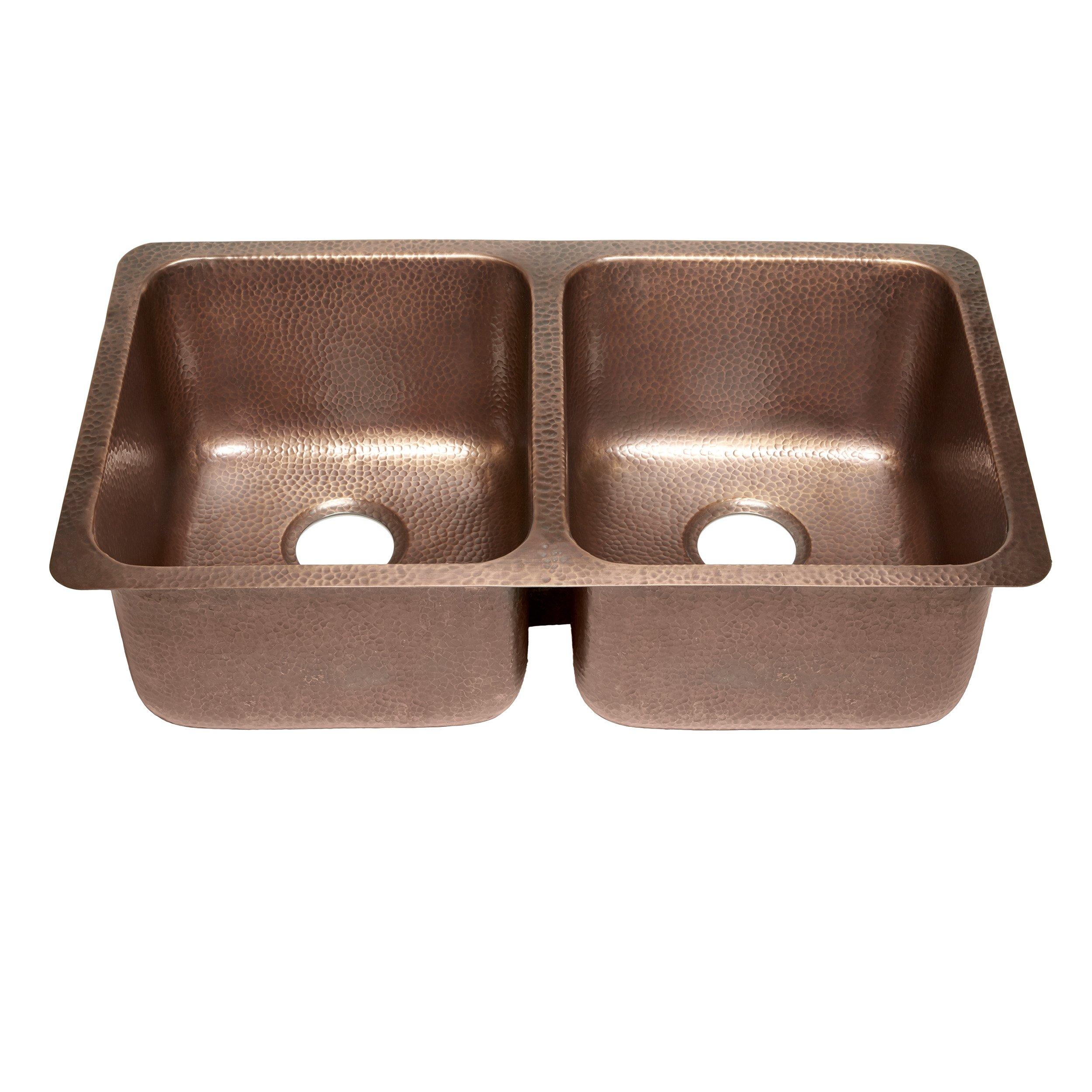 Sinkology SK204-32AC Rivera Luxury Series Undermount Handmade Pure Copper Double Bowl Kitchen Sink, 32-1/4'', Antique Copper