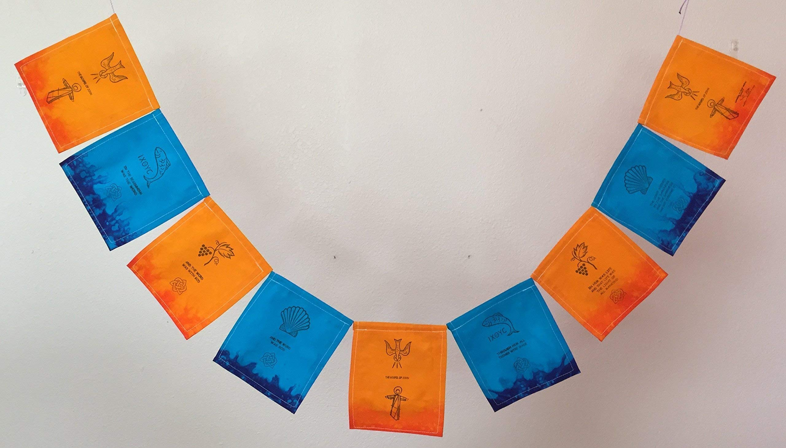 The Gospel of John Christian Prayer Flag''The Word became flesh.'' All proceeds to families in Mexico.
