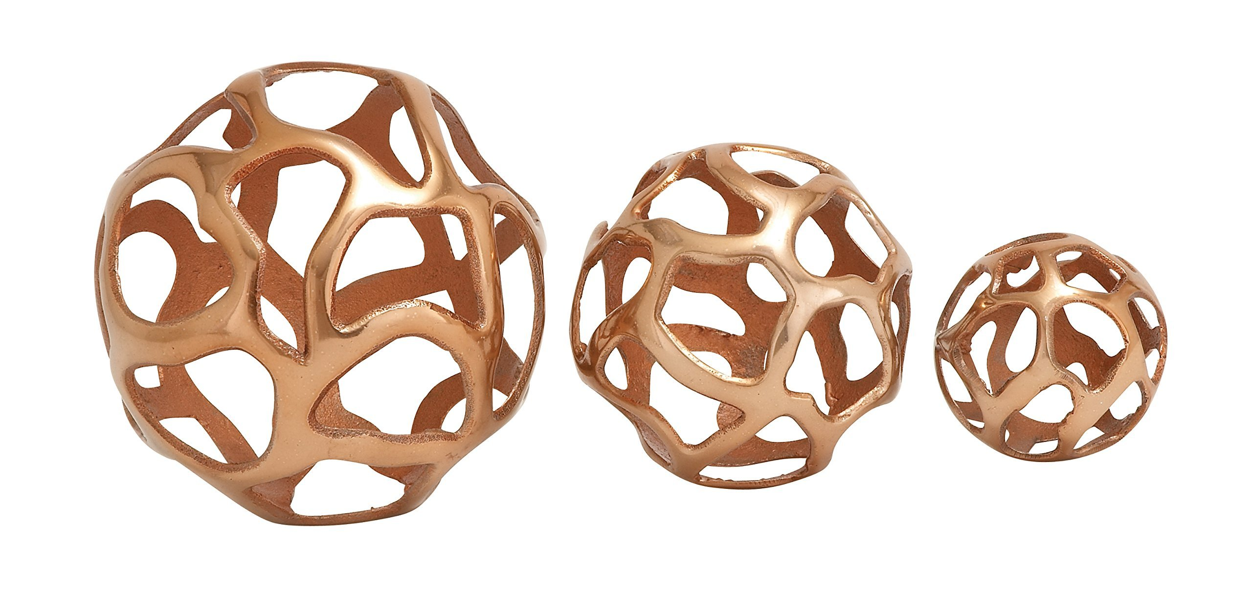 Deco 79 Aluminium Ball Decor, 8 by 6 by 4-Inch, Copper Brown, Set of 3 by Deco 79