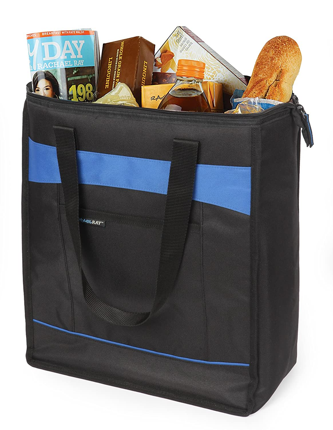 Insulated Bag for  Grocery Shopping //Entertaining Black with Blue Trim Rachael Ray ChillOut Thermal Tote Transport Hot and Cold Food