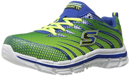 Skechers Kids Nitrate Top Speed Double Strap Athletic Sneaker  (Toddler),Lime/Blue