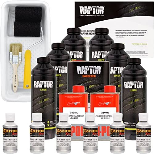 U-POL Raptor Bright Silver Urethane Spray-On Truck Bed Liner Kit