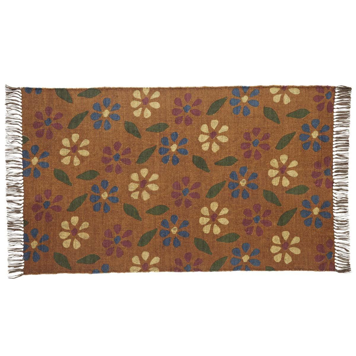 VHC Brands Seasonal Farmhouse Flooring Somerville Orange Printed Angle Kilim Rug 3 x 5