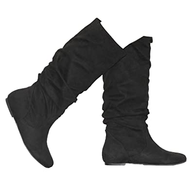 16442c4a2c0c MVE Shoes Women's Zuluu Slouchy Faux Leather Knee High Flats Boots Black 5.5