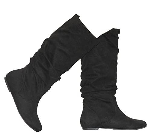 43b37b8d5169a MVE Shoes Womens Stylish Soda Comfortable Faux Suede Slouch Knee High Boots