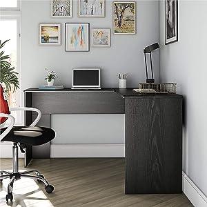 Ameriwood Home The Works L Desk, Black Oak