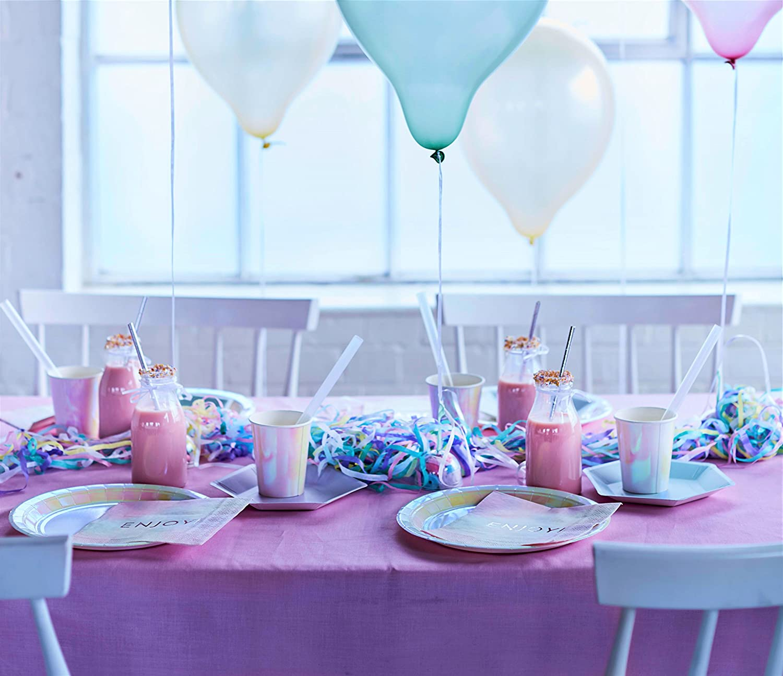 Pink Talking Tables We Heart Pink; Pastellfarbene Hochglanz-Pappteller f/ür Geburtstage 23 cm Motive: Einhorn, Meerjungfrau, Kinderparty 12 pro Pack in 1 Design
