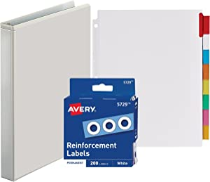 3-Ring Binder, 1 Inch - with Big Tab Insertable Extra Wide Dividers 8 Multicolor Tabs - with 200 White Hole Reinforcements, Hole Reinforcers for 3 Ring Binders - Value Set (White Ring Binder)