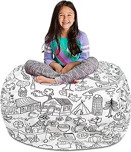 Posh Stuffable Kids Stuffed Animal Storage Bean Bag Chair Cover - Childrens Toy Organizer, X-Large-48