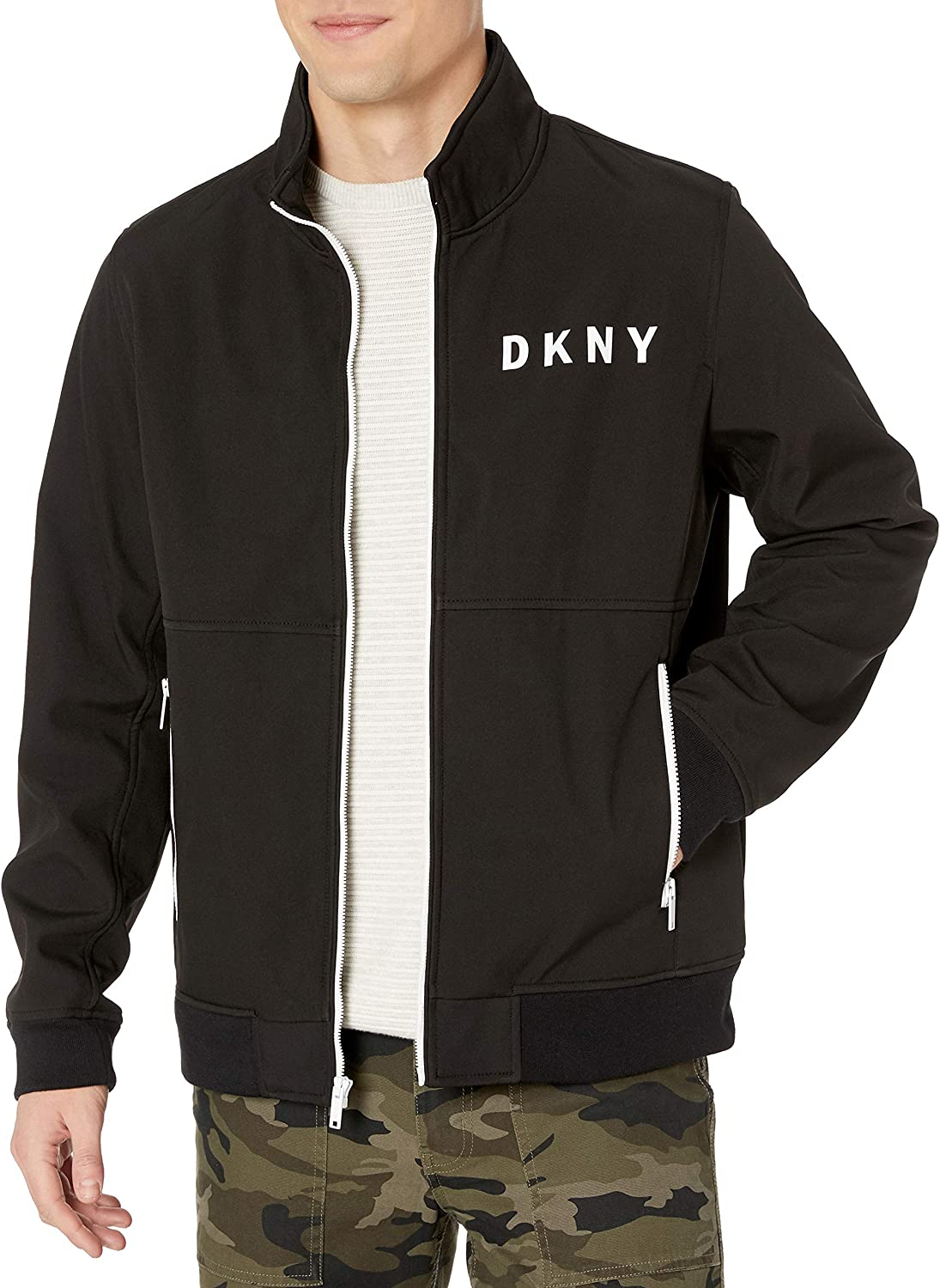 DKNY Mens Stand Collar Softshell Track Bomber Jacket Transitional Jacket