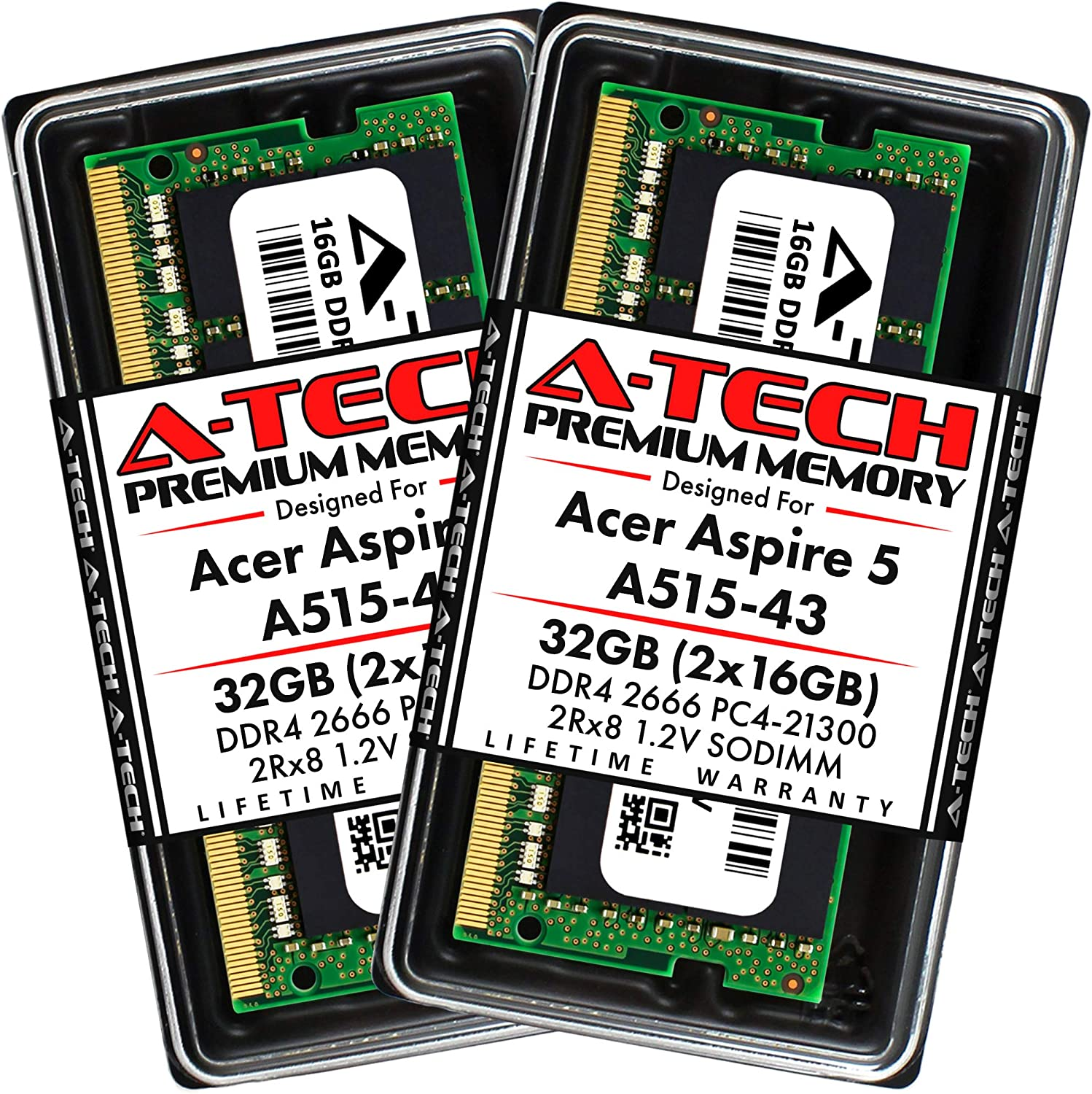 A-Tech 32GB (2x16GB) RAM for Acer Aspire 5 Slim Laptop A515-43 | DDR4 2666MHz SODIMM PC4-21300 260-Pin CL19 1.2V Non-ECC Unbuffered Max Memory Upgrade Kit